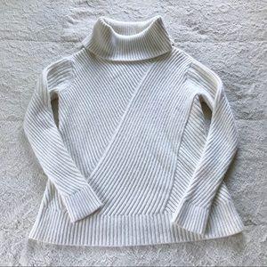 Ann Taylor White Chunky Knit Turtleneck